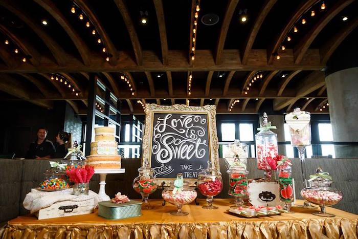 "Dessert table from a ""Love is Sweet"" Baby Shower Dessert Bar on Kara's Party Ideas | KarasPartyIdeas.com (11)"