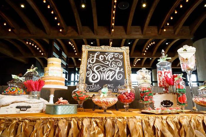 "Dessert table from a ""Love is Sweet"" Baby Shower Dessert Bar on Kara's Party Ideas | KarasPartyIdeas.com (10)"