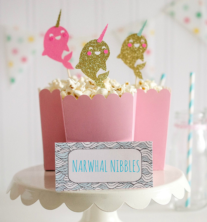 """Narwhal Nibbles (popcorn) from a """"Party Like a Narwhal"""" Birthday Party on Kara's Party Ideas 