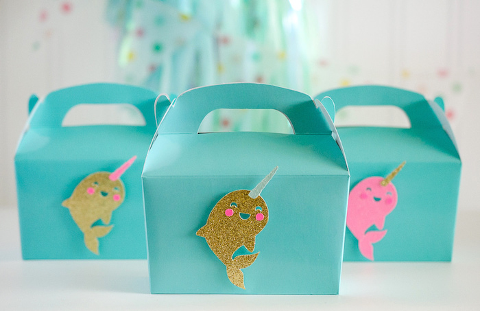 """Narwhal gable boxes from a """"Party Like a Narwhal"""" Birthday Party on Kara's Party Ideas 