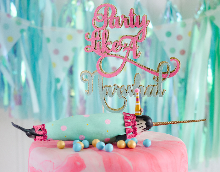"""Narwhal cake topper from a """"Party Like a Narwhal"""" Birthday Party on Kara's Party Ideas 