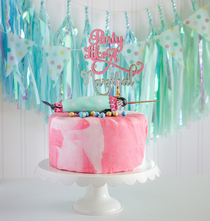 "Featured Party of the Week: Narwhal cake from a ""Party Like a Narwhal"" Birthday Party on Kara's Party Ideas 