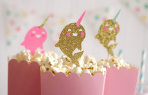 """Narwhal toppers from a """"Party Like a Narwhal"""" Birthday Party on Kara's Party Ideas 