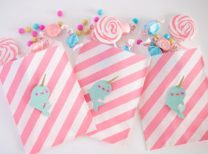 """Narwhal goodie bags from a """"Party Like a Narwhal"""" Birthday Party on Kara's Party Ideas 