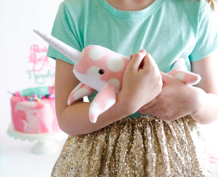 """Narwhal plush from a """"Party Like a Narwhal"""" Birthday Party on Kara's Party Ideas 