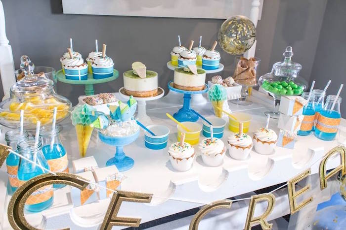 Ice cream-inspired dessert table from a You are the Sprinkles on my Ice Cream Birthday Party on Kara's Party Ideas | KarasPartyIdeas.com (28)