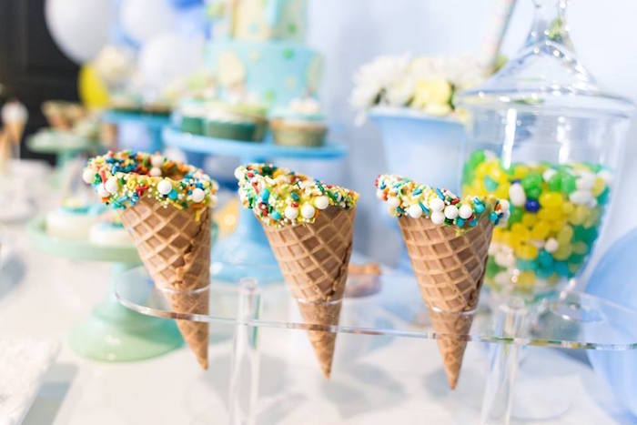 Sprinkled ice cream cones from a You are the Sprinkles on my Ice Cream Birthday Party on Kara's Party Ideas | KarasPartyIdeas.com (26)