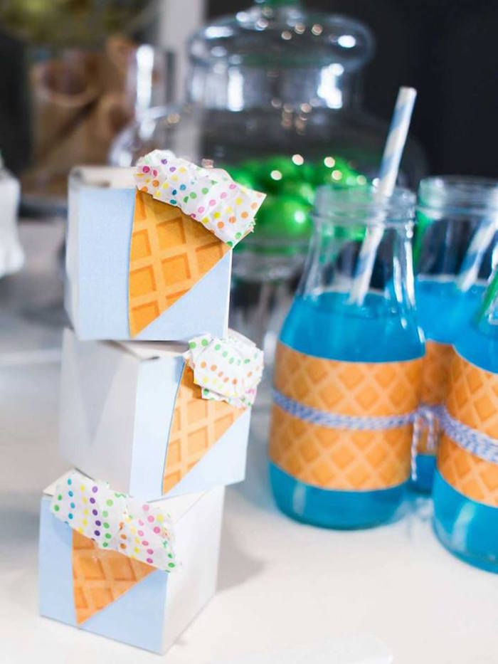 Ice cream cone favor boxes from a You are the Sprinkles on my Ice Cream Birthday Party on Kara's Party Ideas | KarasPartyIdeas.com (20)