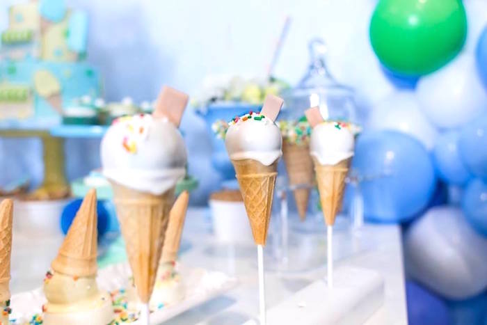 Ice cream cone cake pops from a You are the Sprinkles on my Ice Cream Birthday Party on Kara's Party Ideas | KarasPartyIdeas.com (18)