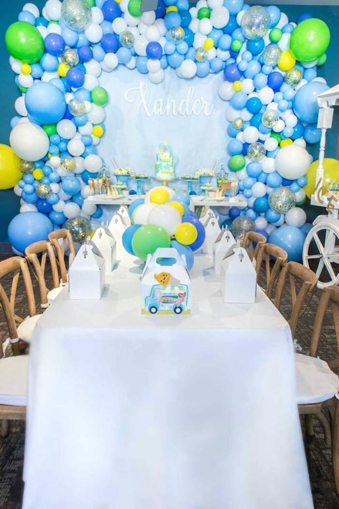 Guest tablescape from a You are the Sprinkles on my Ice Cream Birthday Party on Kara's Party Ideas | KarasPartyIdeas.com (15)