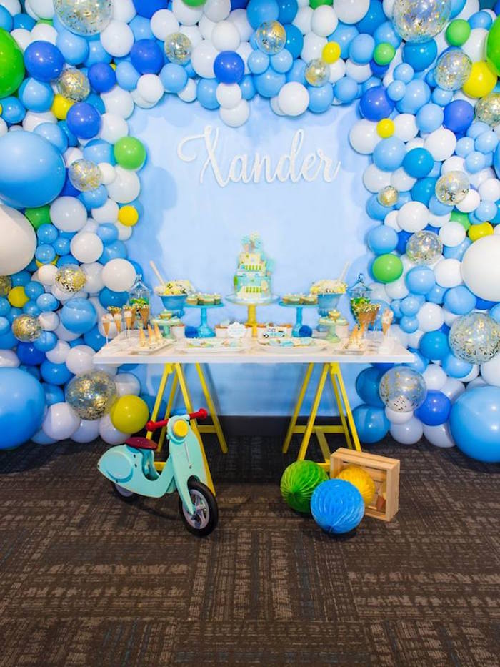 Dessert table from a You are the Sprinkles on my Ice Cream Birthday Party on Kara's Party Ideas | KarasPartyIdeas.com (12)