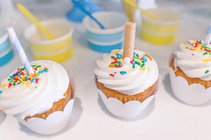 Ice cream sundae cupcakes from a You are the Sprinkles on my Ice Cream Birthday Party on Kara's Party Ideas | KarasPartyIdeas.com (10)