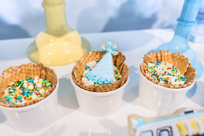 Sprinkles in waffle bowls from a You are the Sprinkles on my Ice Cream Birthday Party on Kara's Party Ideas | KarasPartyIdeas.com (9)