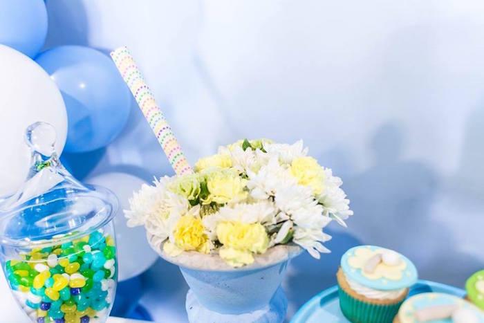 Ice Cream Sundae floral arrangement from a You are the Sprinkles on my Ice Cream Birthday Party on Kara's Party Ideas | KarasPartyIdeas.com (7)