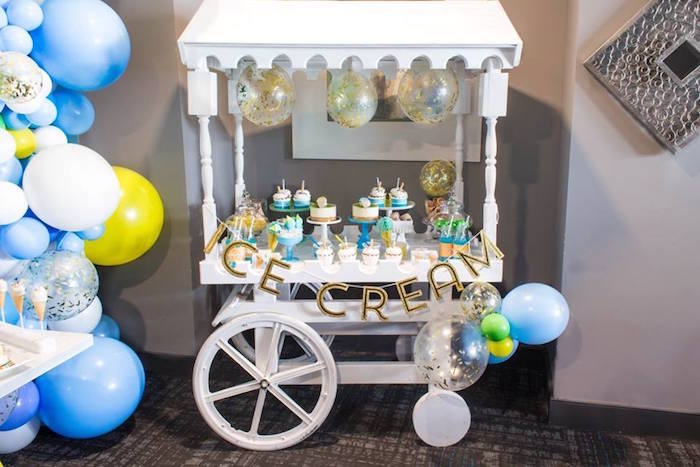 Ice cream cart dessert table from a You are the Sprinkles on my Ice Cream Birthday Party on Kara's Party Ideas | KarasPartyIdeas.com (35)
