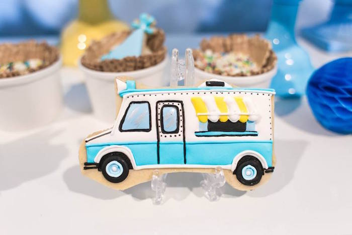 Ice cream truck cookie from a You are the Sprinkles on my Ice Cream Birthday Party on Kara's Party Ideas | KarasPartyIdeas.com (30)