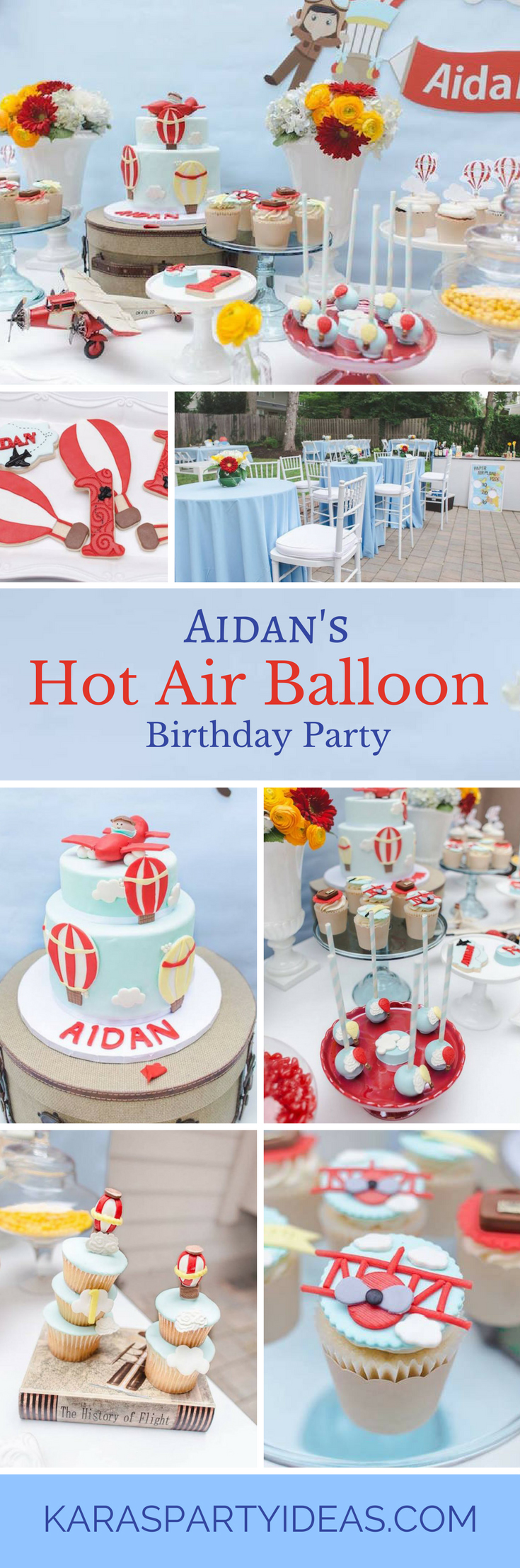 Aidans Hot Air Balloon Birthday Party - Karas Party Ideas via KarasPartyIdeas.com