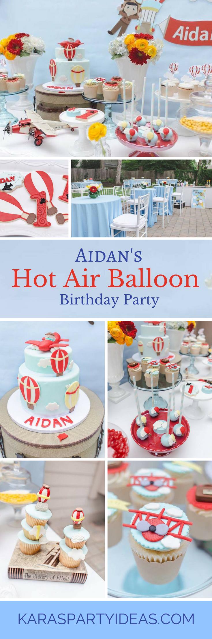 Aidans Hot Air Balloon Birthday Party - Karas Party Ideas via KarasPartyIdeas.com