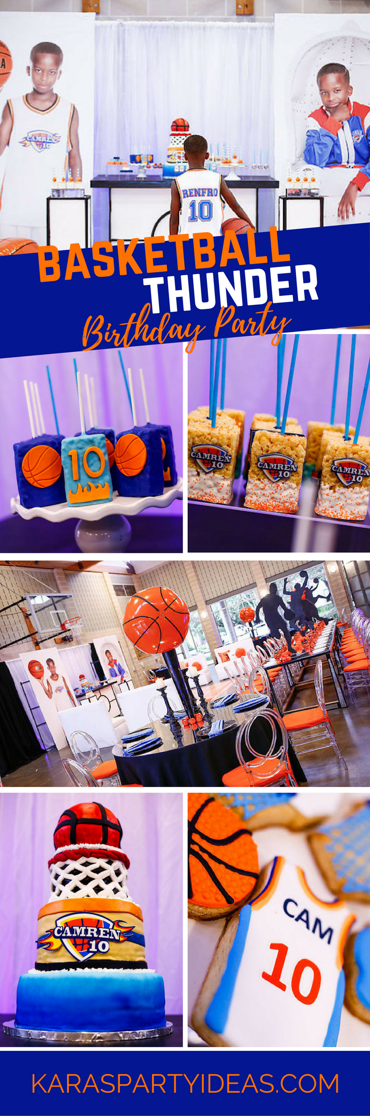 Basketball Thunder Birthday Party via Kara's Party Ideas - KarasPartyIdeas.com