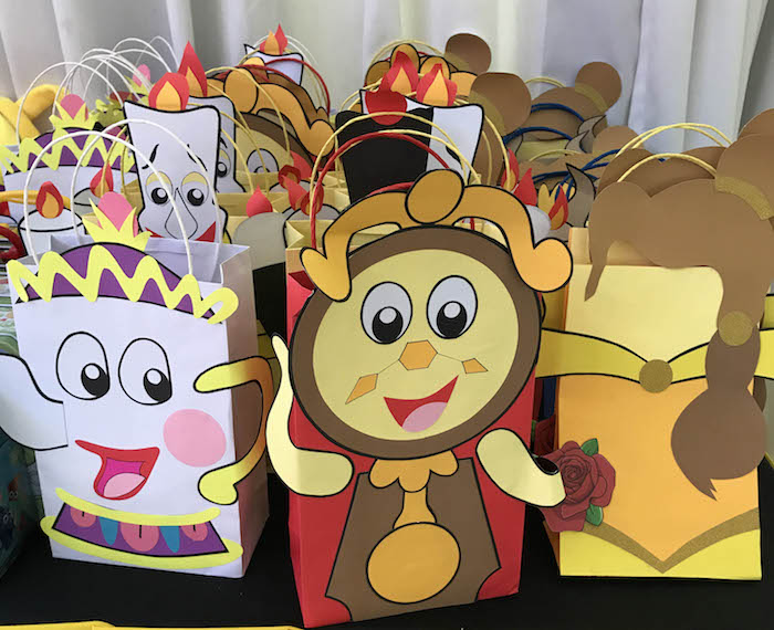 Beauty and the Beast character bags from a Beauty and the Beast Birthday Party on Kara's Party Ideas | KarasPartyIdeas.com (10)