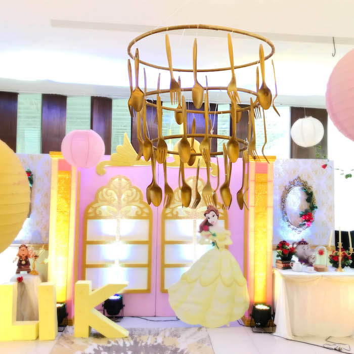 Flatware chandelier from a Beauty and the Beast Birthday Party on Kara's Party Ideas | KarasPartyIdeas.com (9)