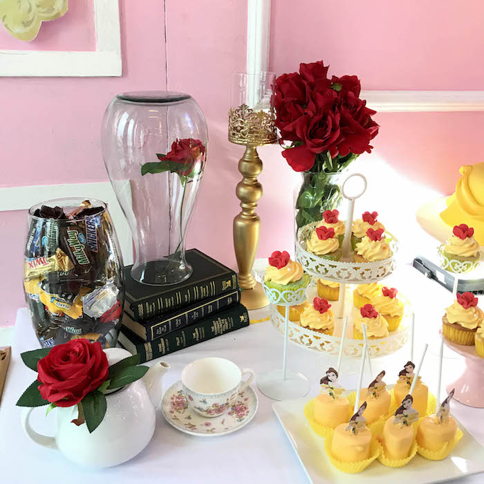 Enchanted Rose sweet table from a Beauty and the Beast Birthday Party on Kara's Party Ideas | KarasPartyIdeas.com (6)