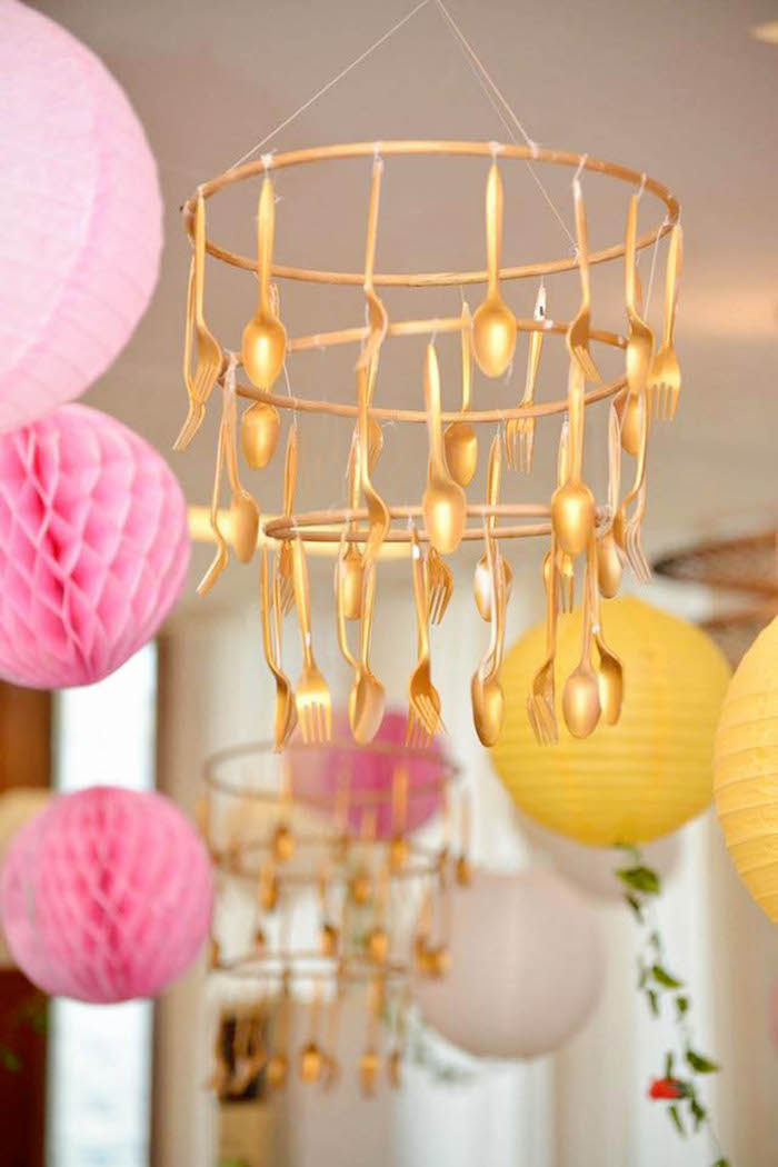 Gold flatware chandelier from a Beauty and the Beast Birthday Party on Kara's Party Ideas | KarasPartyIdeas.com (5)