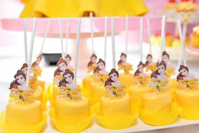 Belle Cakes from a Beauty and the Beast Birthday Party on Kara's Party Ideas | KarasPartyIdeas.com (4)