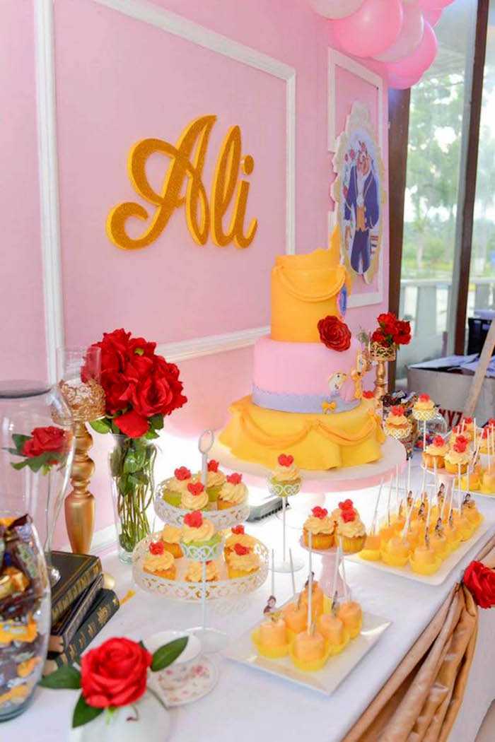 Cake table from a Beauty and the Beast Birthday Party on Kara's Party Ideas | KarasPartyIdeas.com (3)