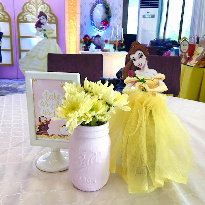 Belle table centerpiece from a Beauty and the Beast Birthday Party on Kara's Party Ideas | KarasPartyIdeas.com (16)