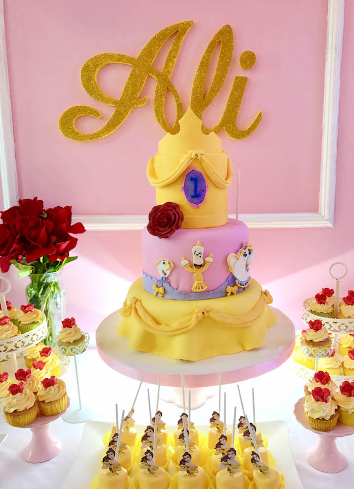 Belle-inspired Beauty and the Beast Cake from a Beauty and the Beast Birthday Party on Kara's Party Ideas | KarasPartyIdeas.com (11)