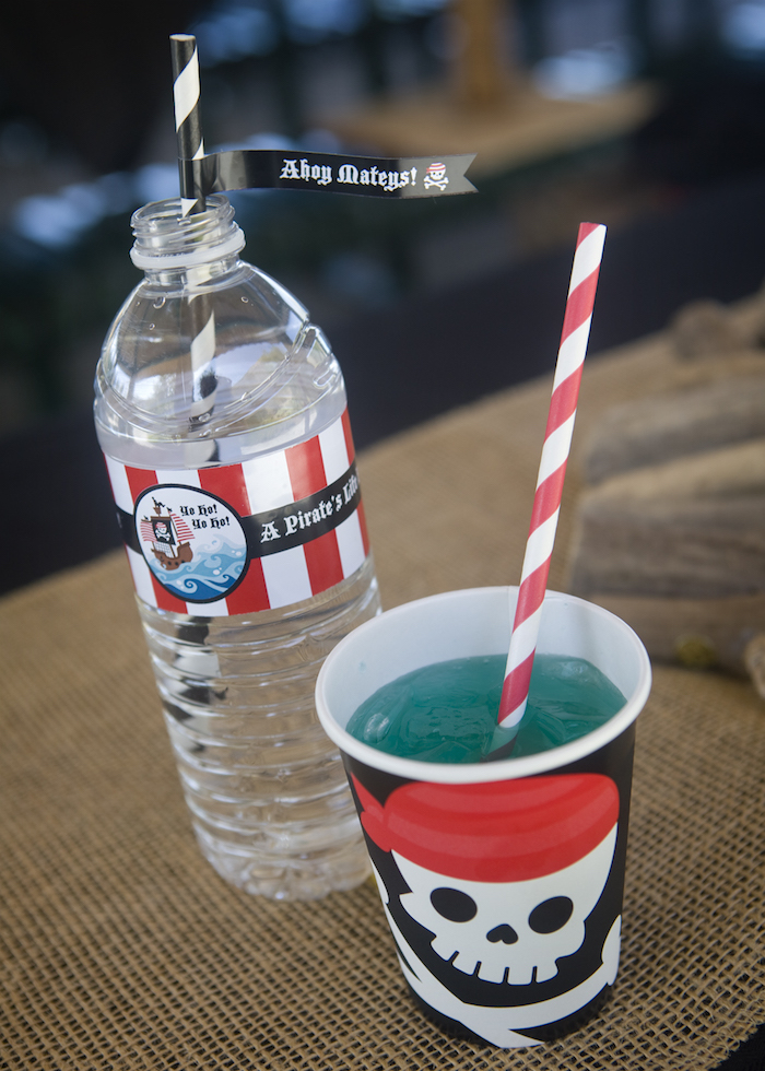Beverages from a Misty Cove Pirate Birthday Party via Kara's Party Ideas | KarasPartyIdeas.com
