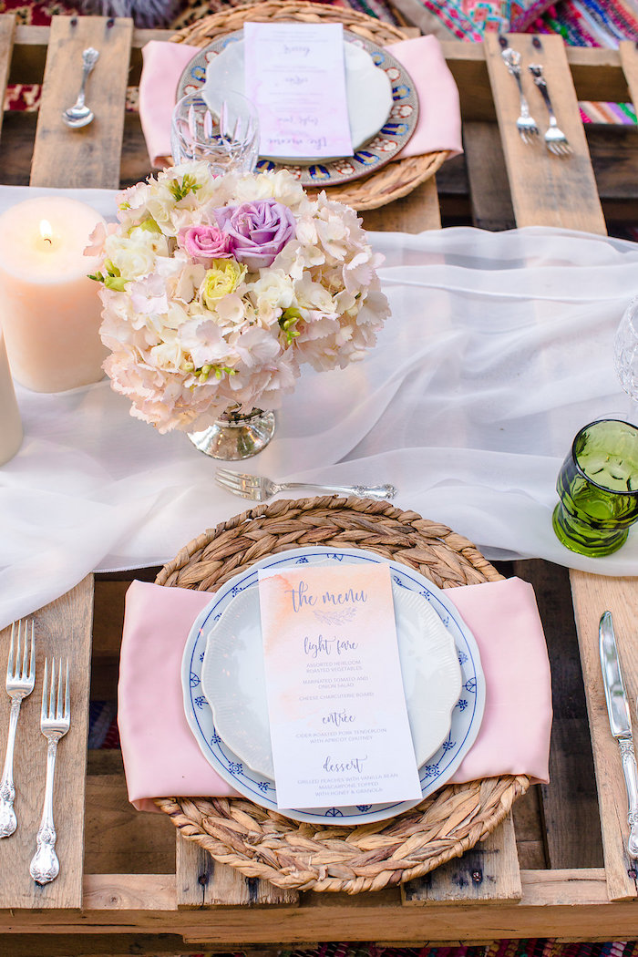 Boho place setting featuring Wedgwood China from a Boho Midsummer Nights Soiree on Kara's Party Ideas | KarasPartyIdeas.com (25)
