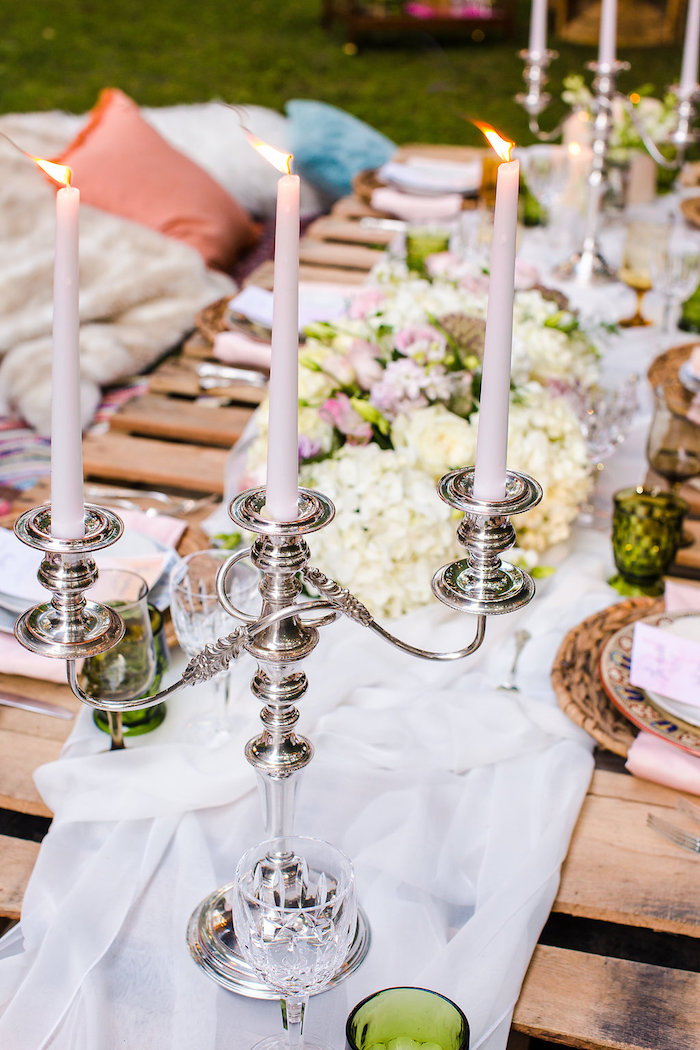 Silver candleabra from a Boho Midsummer Nights Soiree on Kara's Party Ideas | KarasPartyIdeas.com (24)