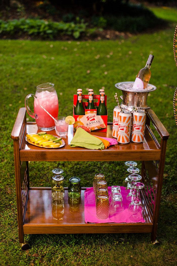 Boho bar + drink cart from a Boho Midsummer Nights Soiree on Kara's Party Ideas | KarasPartyIdeas.com (22)
