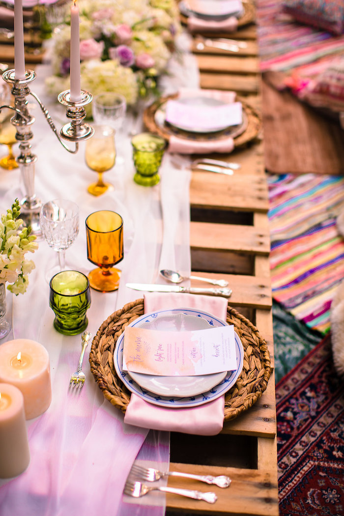 Place setting from a Boho Midsummer Nights Soiree on Kara's Party Ideas | KarasPartyIdeas.com (18)