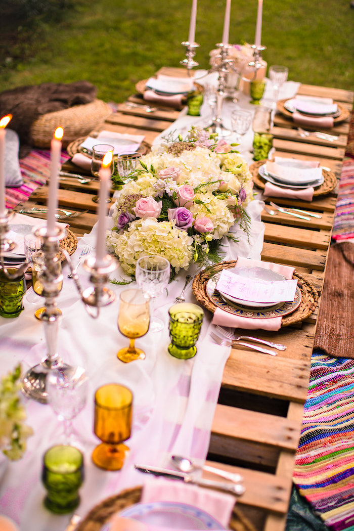 Pallet board dining tablescape from a Boho Midsummer Nights Soiree on Kara's Party Ideas | KarasPartyIdeas.com (17)