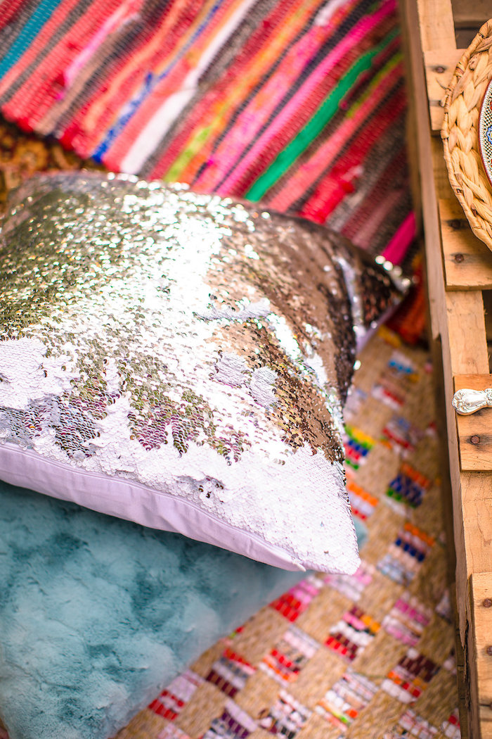 Glam pillow/seating from a Boho Midsummer Nights Soiree on Kara's Party Ideas | KarasPartyIdeas.com (16)