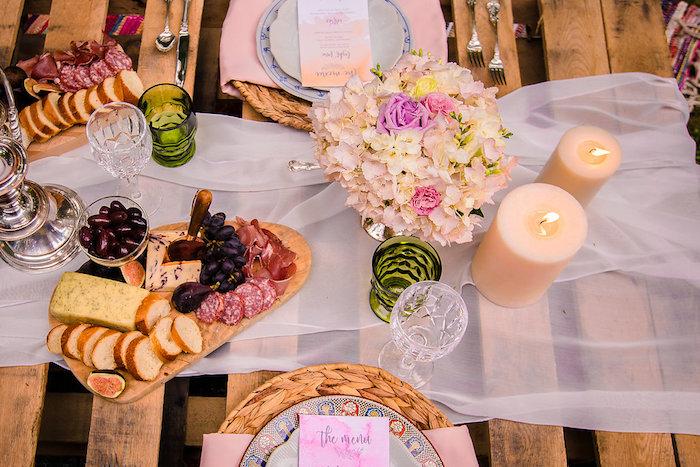 Boho dining tabletop from a Boho Midsummer Nights Soiree on Kara's Party Ideas | KarasPartyIdeas.com (15)