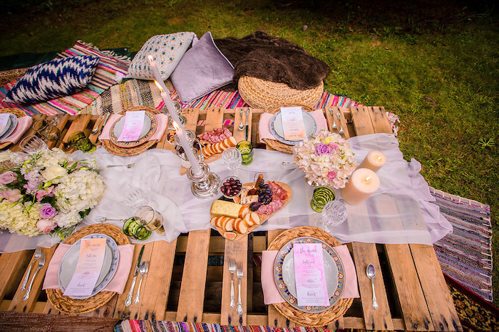 Boho dining tabletop from a Boho Midsummer Nights Soiree on Kara's Party Ideas | KarasPartyIdeas.com (14)