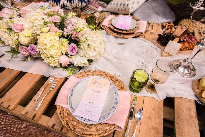 Boho place setting from a Boho Midsummer Nights Soiree on Kara's Party Ideas | KarasPartyIdeas.com (13)