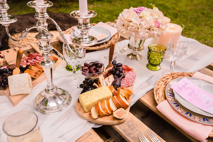 Charcuterie plate + dining table detail from a Boho Midsummer Nights Soiree on Kara's Party Ideas | KarasPartyIdeas.com (12)
