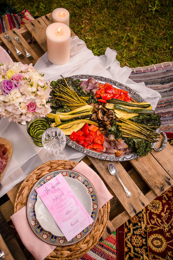 Food platter + dining table detail from a Boho Midsummer Nights Soiree on Kara's Party Ideas | KarasPartyIdeas.com (10)