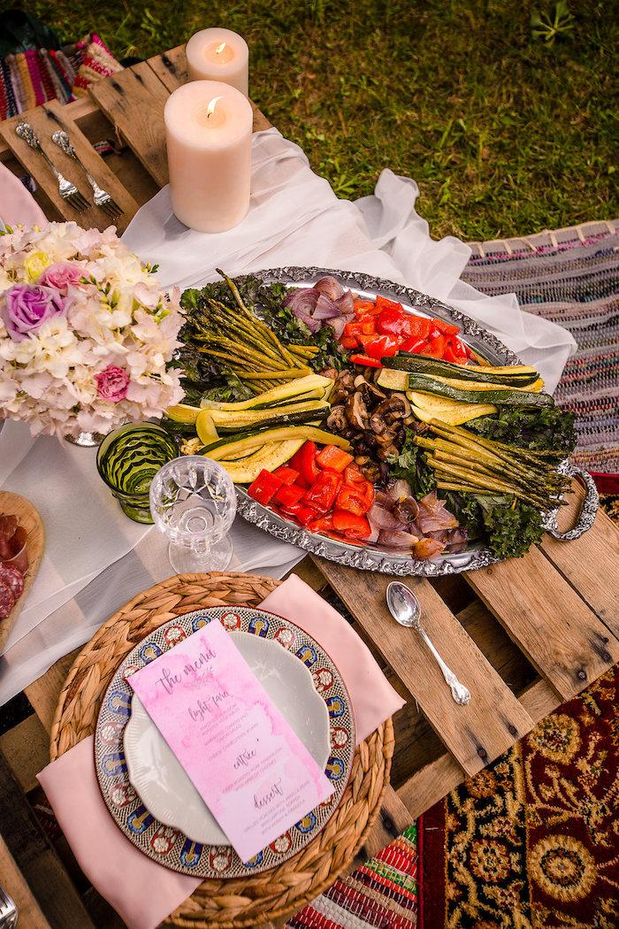 Food platter + dining table detail from a Boho Midsummer Nights Soiree on Kara's Party Ideas | KarasPartyIdeas.com (10)