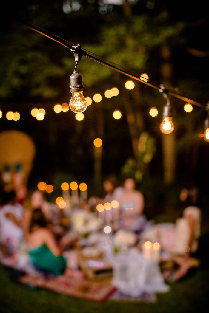 Edison bulb light strand from a Boho Midsummer Nights Soiree on Kara's Party Ideas | KarasPartyIdeas.com (6)