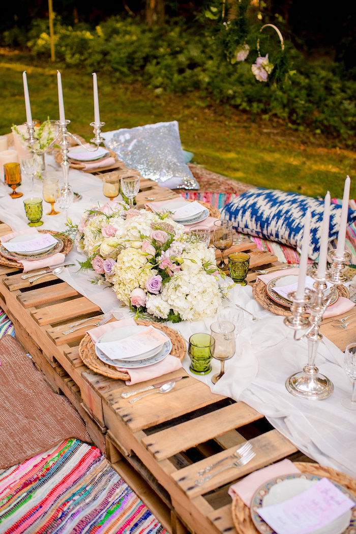 Low seated pallet board dining table from a Boho Midsummer Nights Soiree on Kara's Party Ideas | KarasPartyIdeas.com (33)
