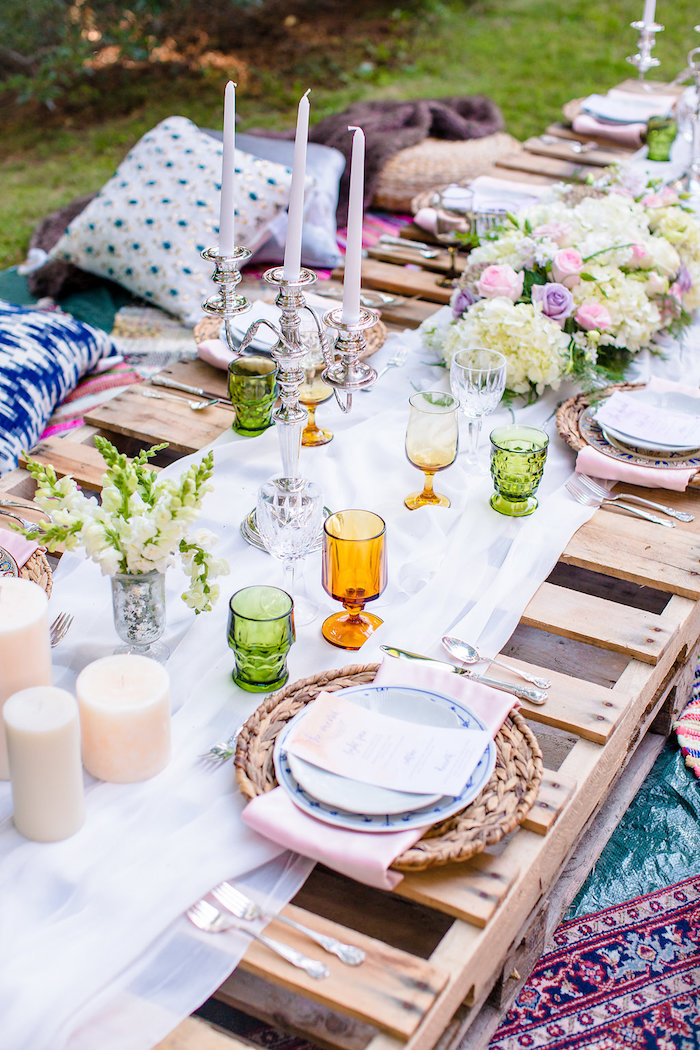 Guest table detail from a Boho Midsummer Nights Soiree on Kara's Party Ideas | KarasPartyIdeas.com (30)