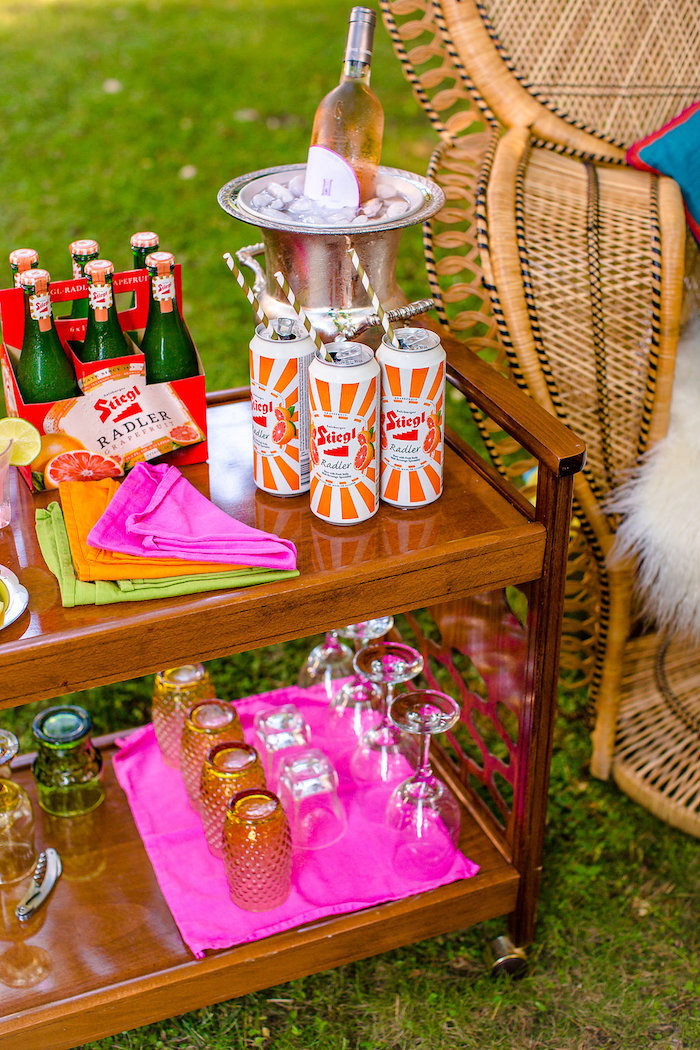 Drink cart + boho bar from a Boho Midsummer Nights Soiree on Kara's Party Ideas | KarasPartyIdeas.com (29)