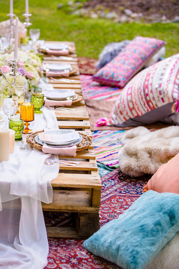 Low seated dining table from a Boho Midsummer Nights Soiree on Kara's Party Ideas | KarasPartyIdeas.com (28)