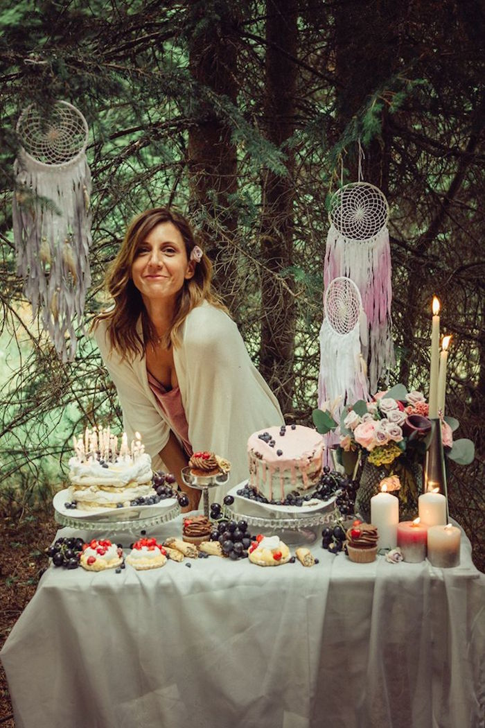 Dessert table from a Boho Picnic Birthday Party on Kara's Party Ideas | KarasPartyIdeas.com (15)